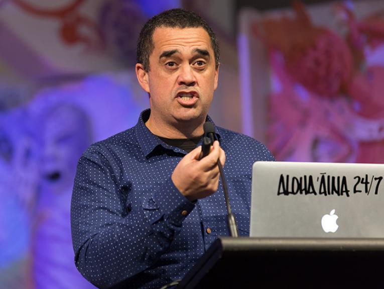 Dr Rangi Matamua speaking on Te Papa's marae