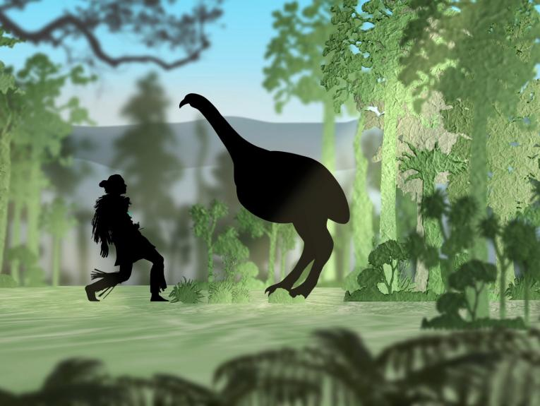 Silhouettes of a human-figure and a moa looking at each other