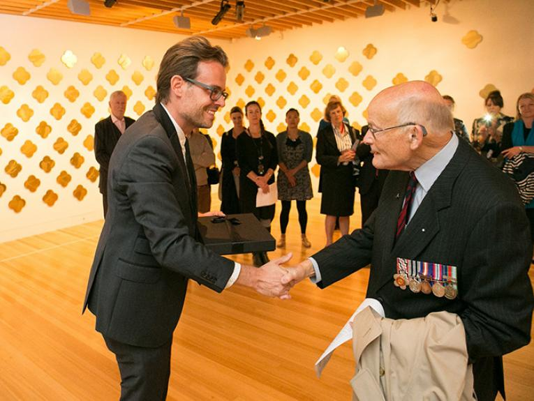 A veteran at the opening of the Max Gimblett Remembrance exhibition