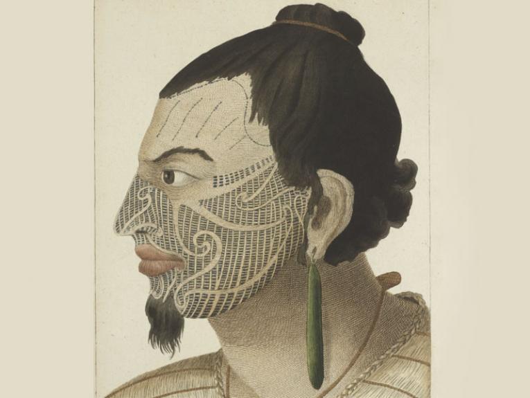 Illustration of a tattooed Māori chief 1784