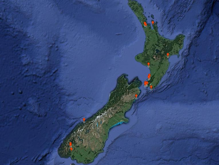 Map of New Zealand with red markers on it