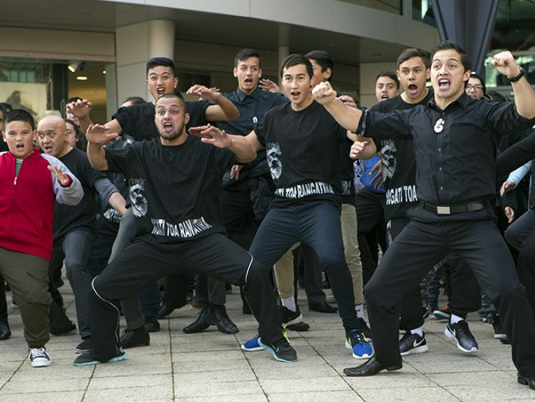 Iwi Ngāti Toa performing a haka at the opening ceremony of Whiti Te Rā!