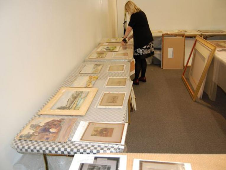Unframed works on paper at Expressions Whirinaki, Upper Hutt