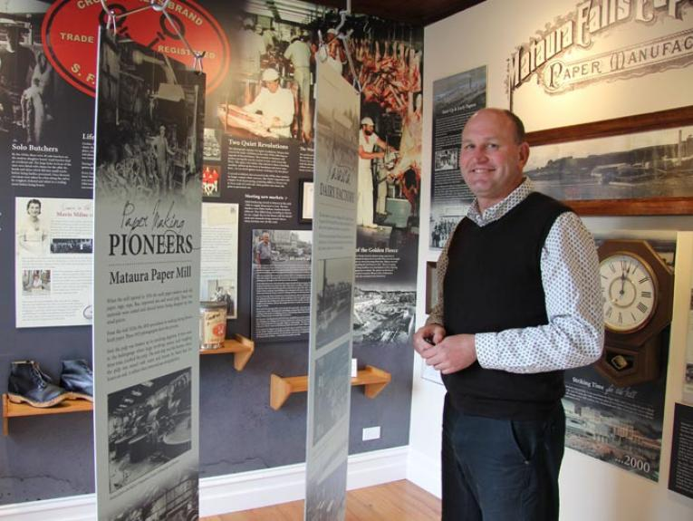 Gore District Council Heritage Projects Officer David Luoni at Mataura Museum, 2015. Photograph courtesy of David Luoni