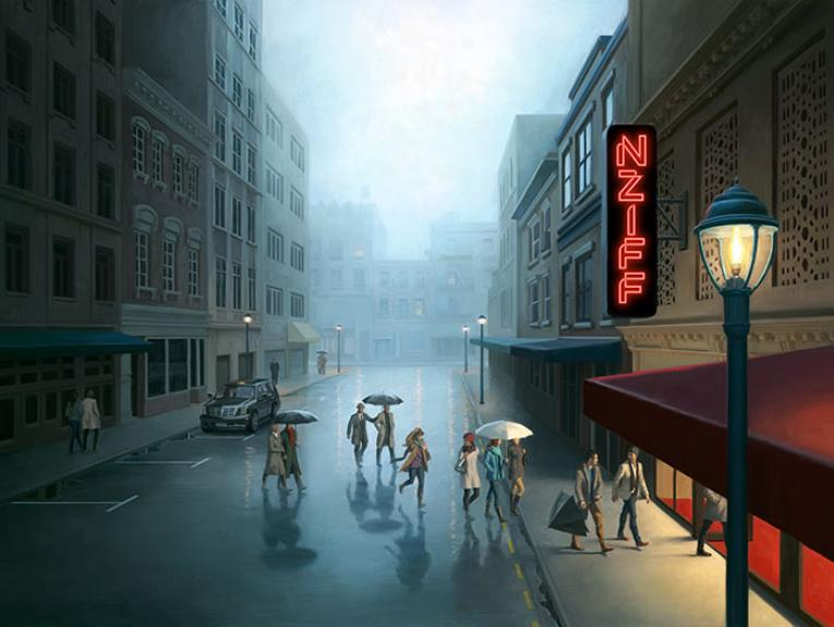 Illustration of people walking up towards a cinema