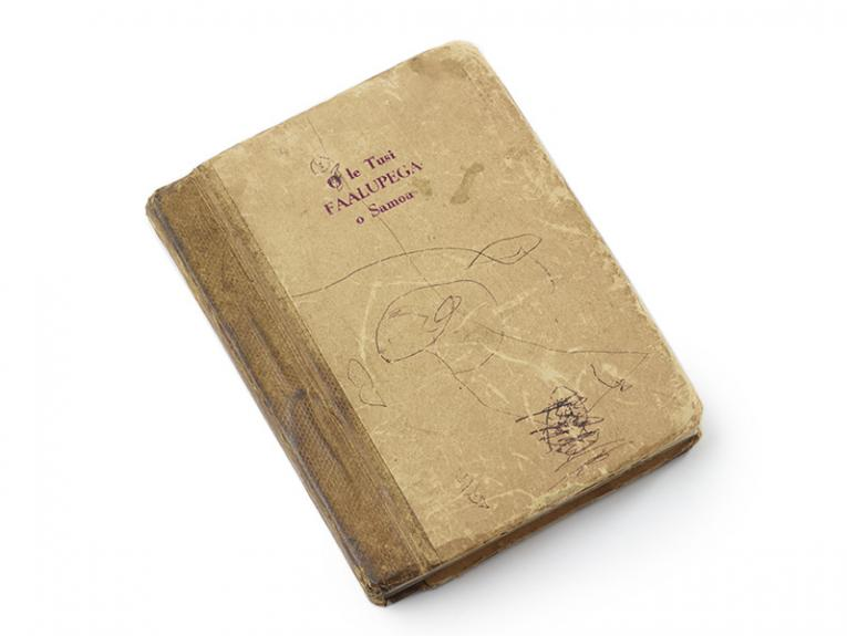 A light-brown coloured book with pen drawing on the cover on a white background