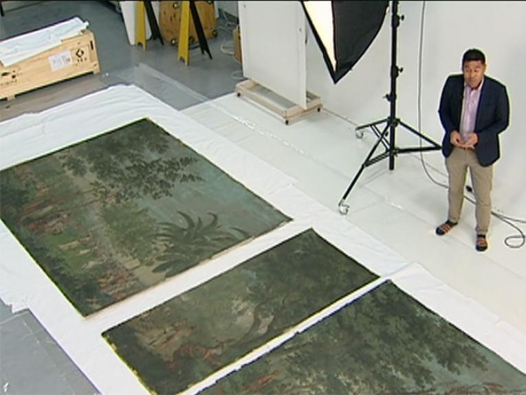 A news reporter stands by the Dufour wallpaper
