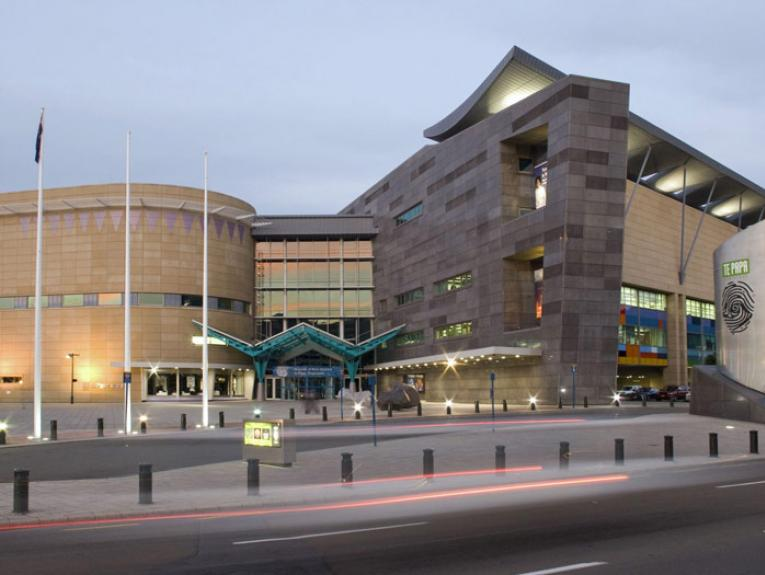 Te Papa external view. Photograph by Michael Hall. Te Papa