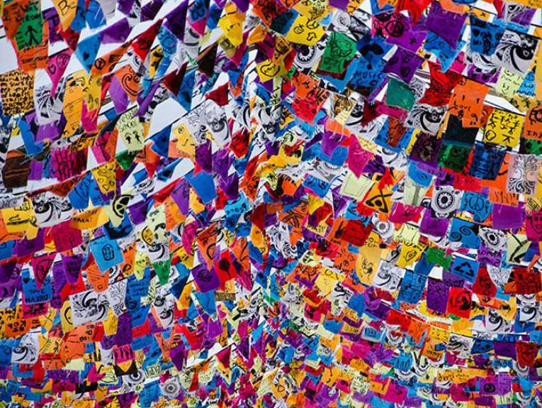 """Colourful array of flags celebrating """"Out in the Park"""""""