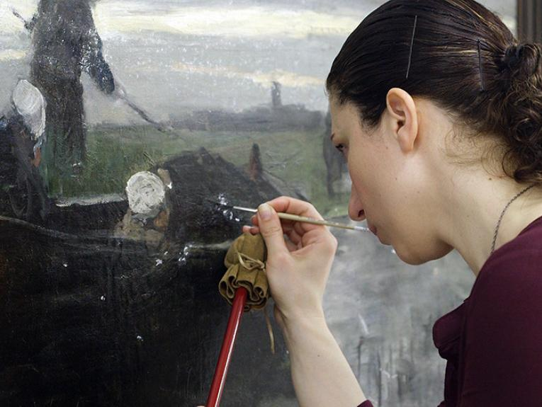 Painting undergoing conservation work