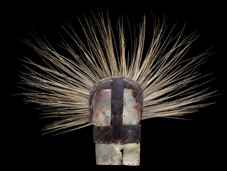 headdress made from feathers and shell