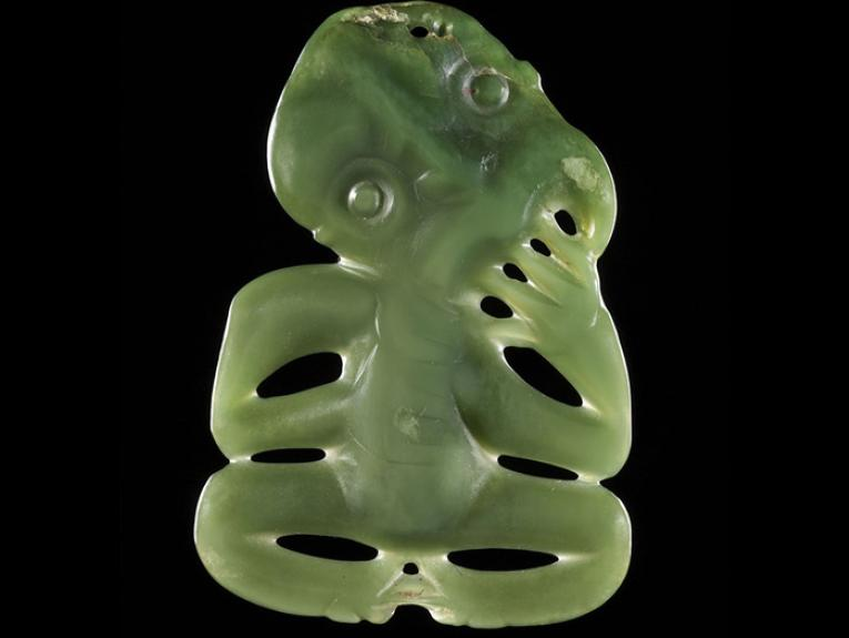 Hei tiki (pendant in human form), 1600-1850, New Zealand, maker unknown. Gift of W Leo Buller, 1911. Te Papa (ME002100)