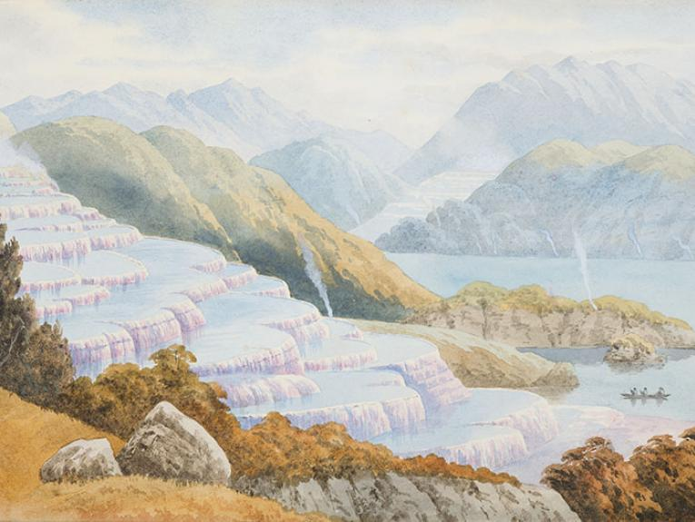 Watercolour painting of the Pink and White Terraces