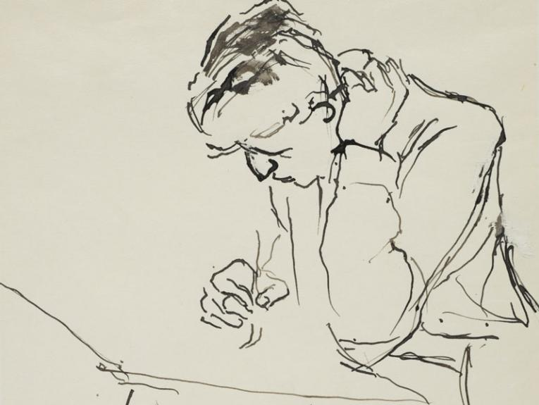 A line drawing of a man at a table writing