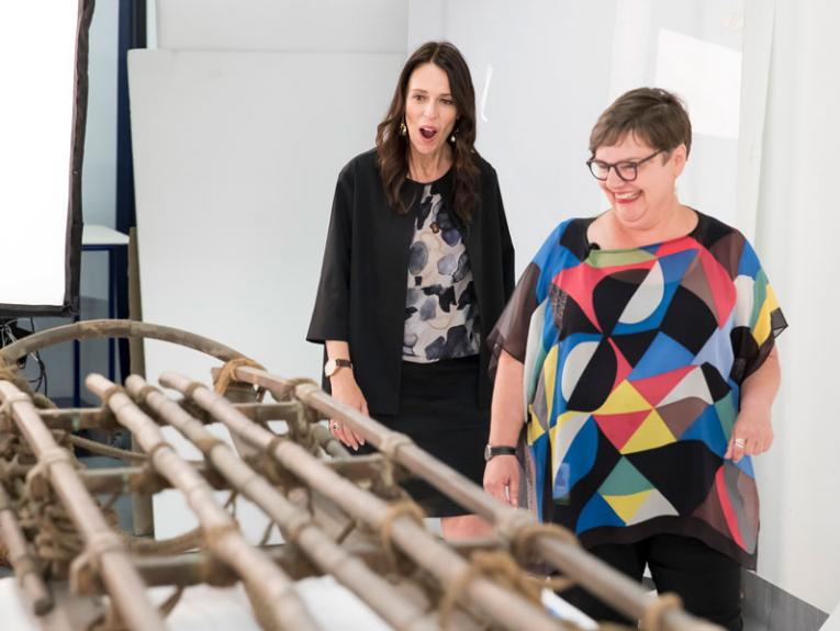 PM Jacinda Adern sees Shackleton's sled for the first time