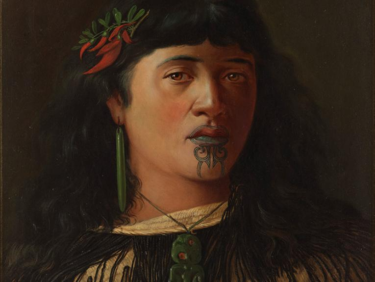 Oil painting titled Portrait of a young Maori woman with moko