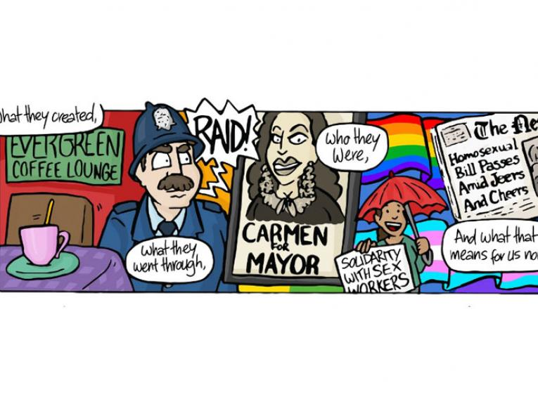 A single panel from a comic featuring a montage containing a policeman, a poster of Carmen Rupe, a rainbow flag and a newspaper