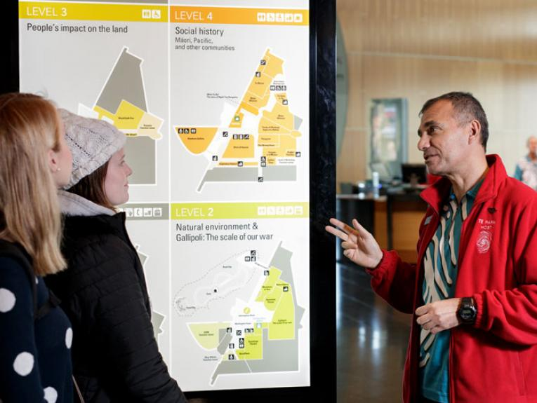 Visitors with Te Papa host