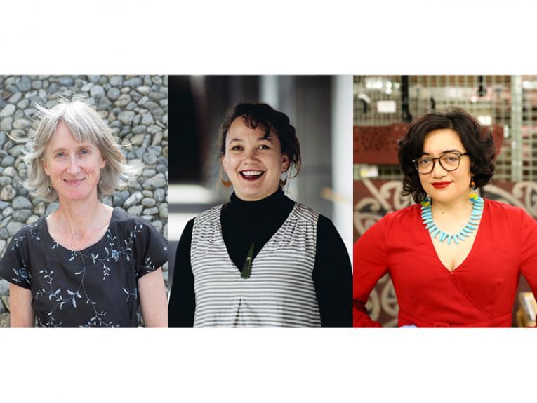 Protest Tautohetohe authors, Stephanie Gibson, Matariki Williams and Puawai Cairns
