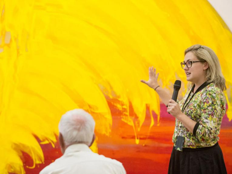 Sarah Farrar, curator floortalk, 2015. Photograph by Michael Hall. Te Papa