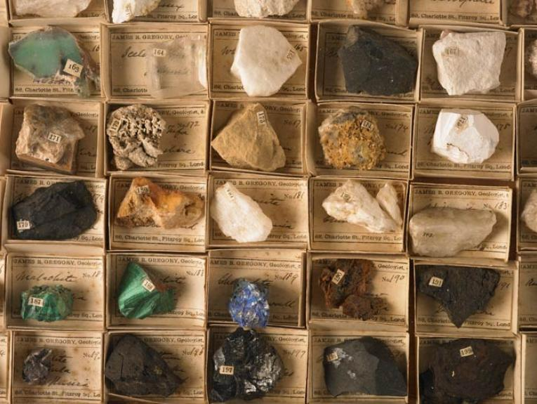 Mineralogical reference set, circa 1857, London, by James Gregory. Purchased 2001 with New Zealand Lottery Grants Board funds. CC BY-NC-ND licence. Te Papa (GH009877)