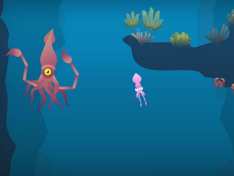 Cartoon squid in the sea