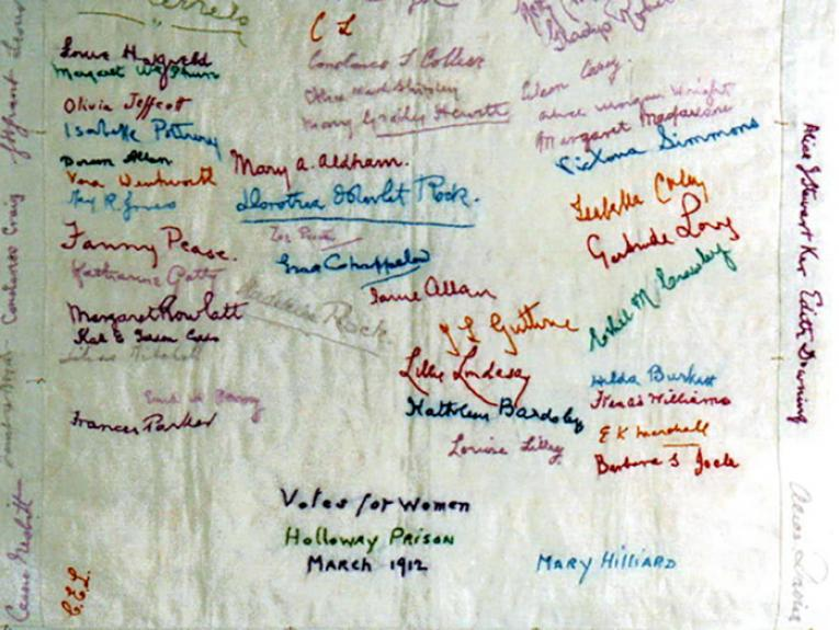 Handkerchief featuring the embroidered signatures of Frances Parker and 65 fellow suffragettes who were held at Holloway Prison, 1912