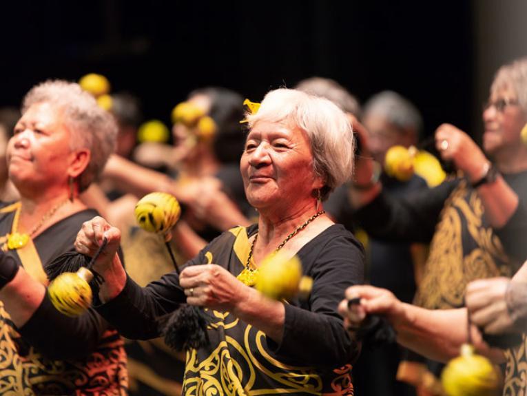 Ladies perform a waiata (song)