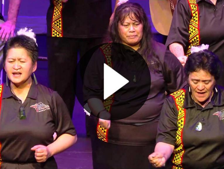 Screengrab of video showing three women performing kapa haka