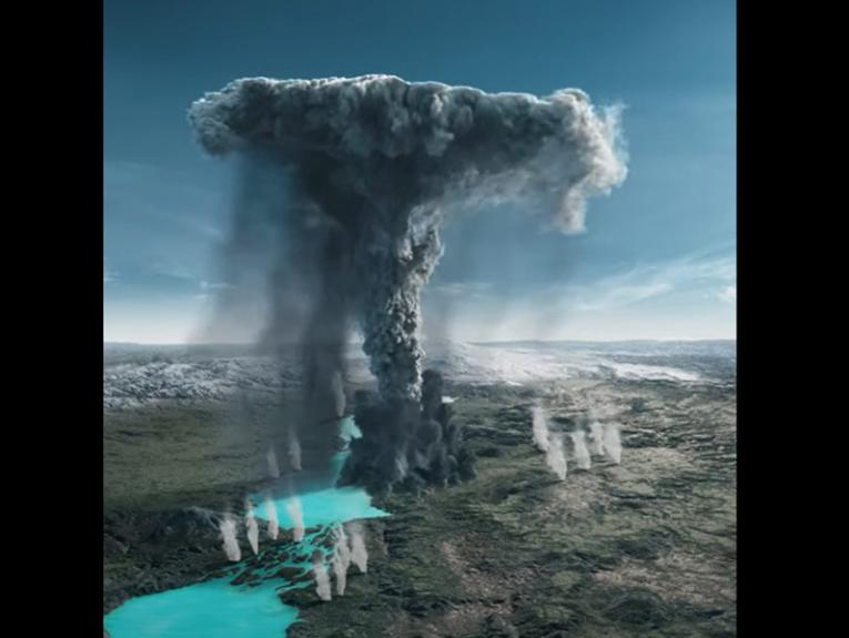 An illustration of an ash volcano exploding over landscape and lakes
