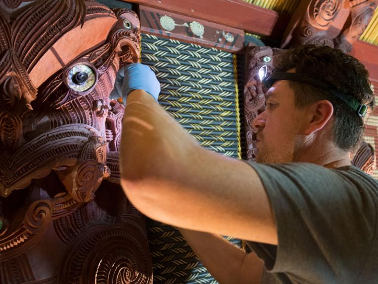 Craftsman working on a marae