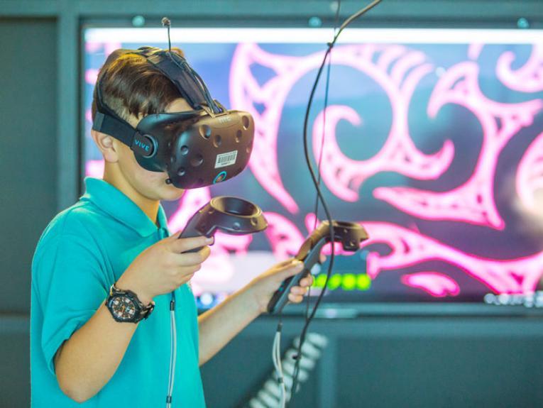 Child uses VR