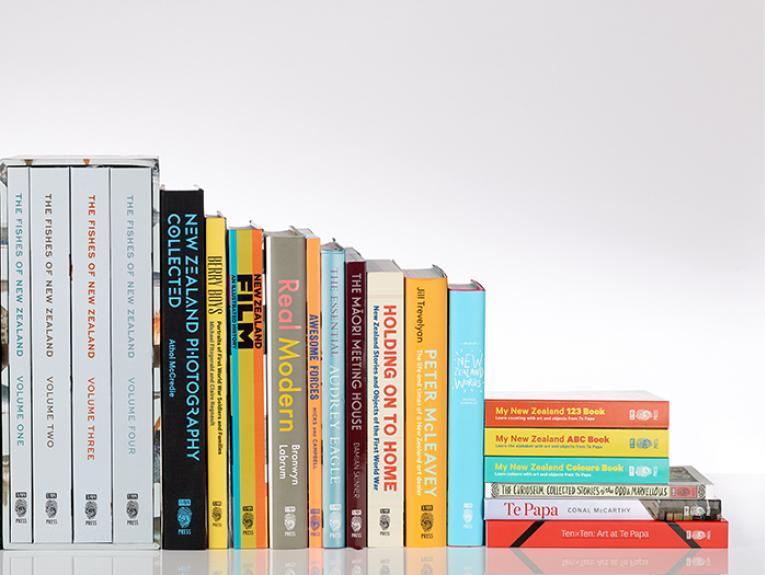 Selection of Te Papa Press titles, 2016. Photograph by Kate Whitley. Te Papa