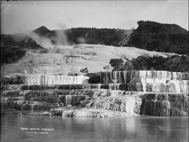 White Terrace, New Zealand, by Burton Brothers studio, Alfred Burton. Te Papa (C.010633)