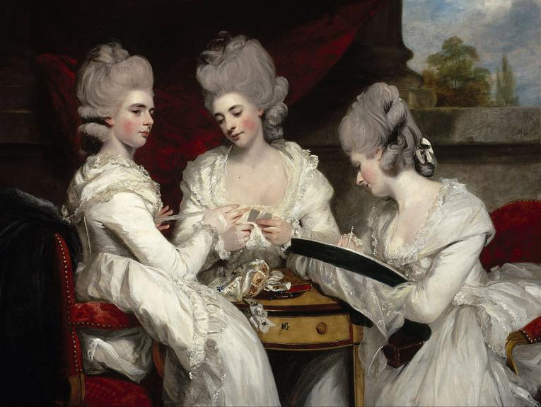 Oil on canvas painting of The Ladies Waldegrave in their fine dresses playing cards