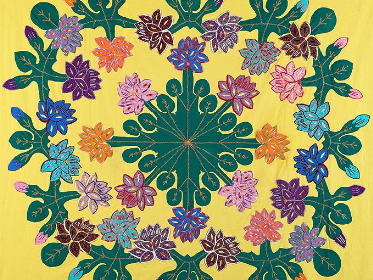 Tivaevae yellow patchwork quilt