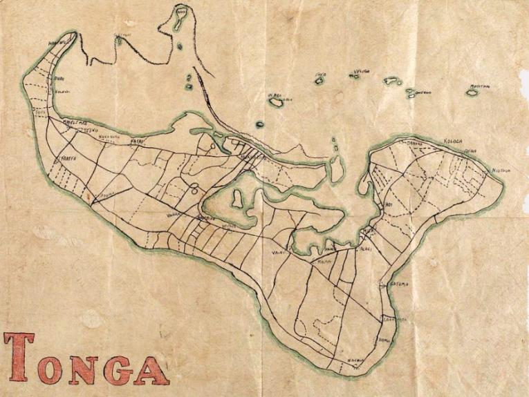 Hand-drawn map of Tonga
