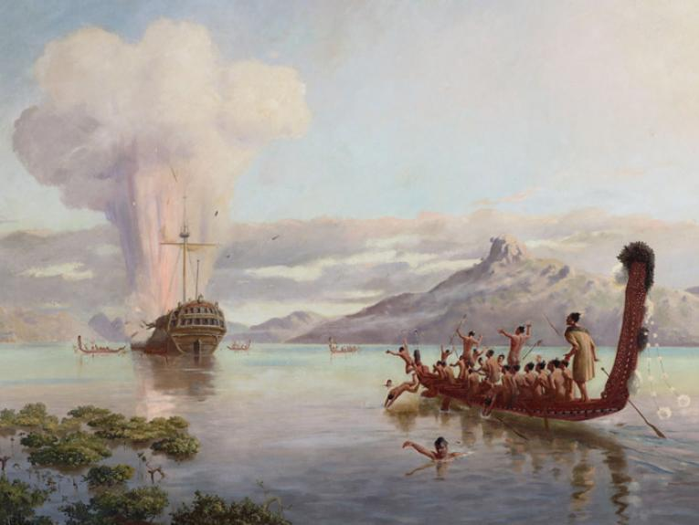 The blowing up of the Boyd, 1889, Auckland, by Louis John Steele, Kennett Watkins