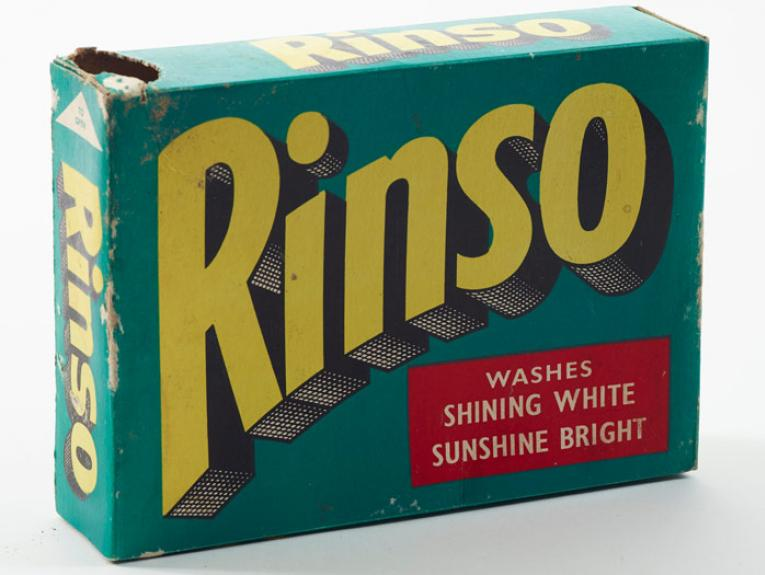 'Rinso ' washing powder packet, circa 1950-1960, New Zealand, by Lever Brothers (NZ) Ltd. Gift of Mark Strange, 1990.. Te Papa (GH004742)