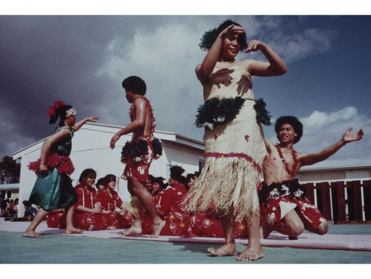 """Hillary College, Otara, Auckland 1981"". From: ""Polynesia Here and There"", 1981, Auckland, by Glenn Jowitt. Purchased 2001. Te Papa (O.027043)"