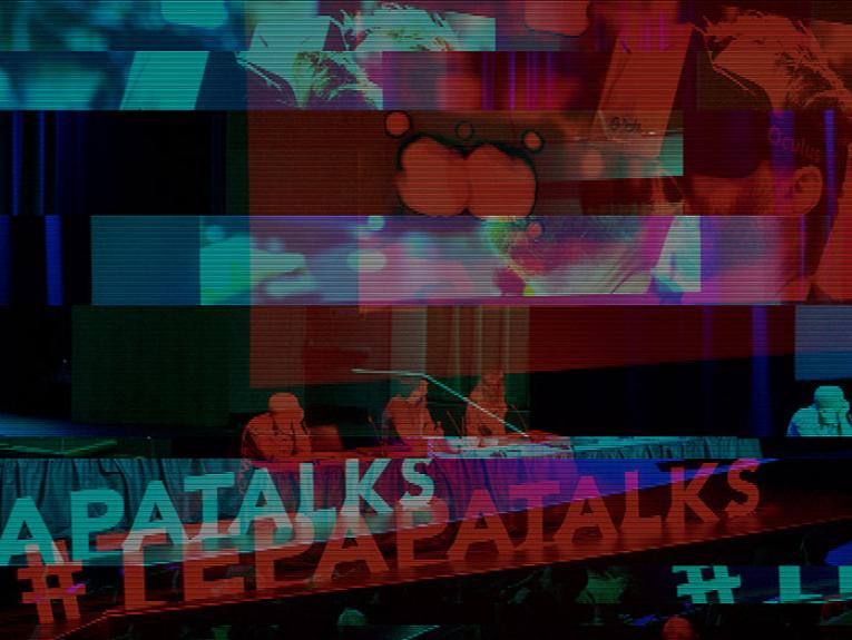 Collage of photos featuring Te Papa Talks events from 2016