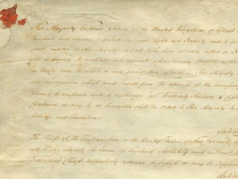 Close up of the Te Tiriti ki Waikato-Manukau | Waikato-Manukau sheet, showing the beginning of the English text