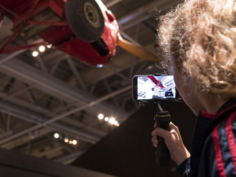 A school pupil gives a virtual tour of one of Te Papa's exhibtion spaces