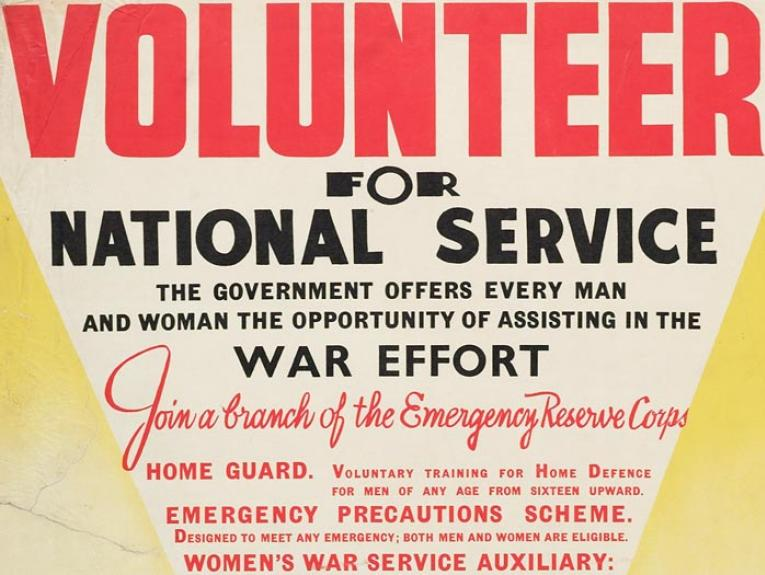 Poster, 'Volunteer For National Service', Late 1940, Wellington, by E. V. Paul, Government Printer. Gift of Mr C H Andrews, 1967. Te Papa (GH014036)