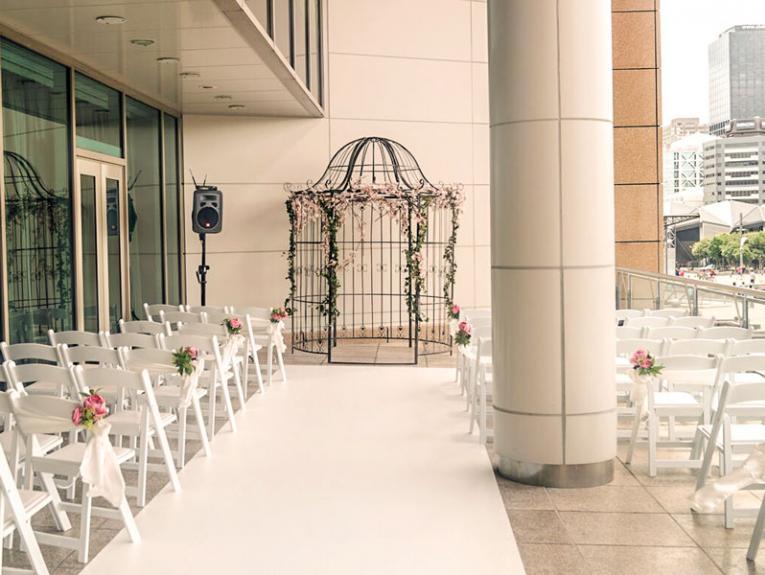 Wedding setup at Te Papa overlooking the waterfront