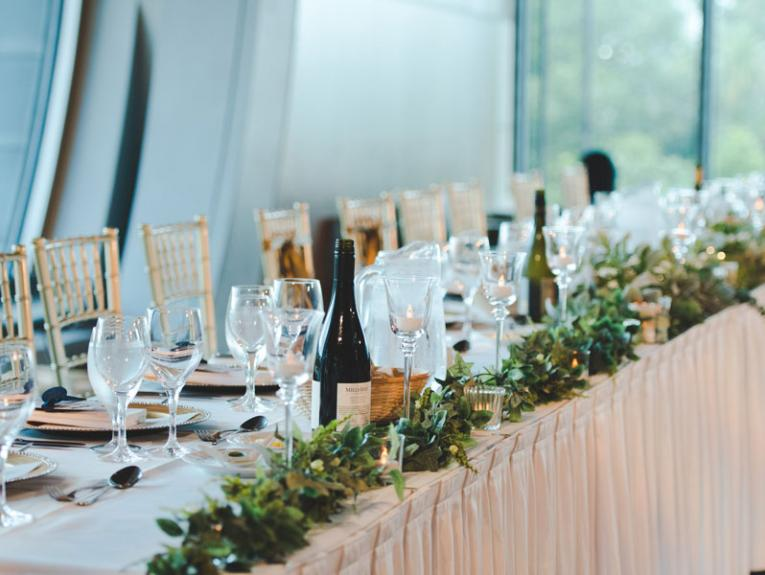 A decorated wedding table at Te Papa