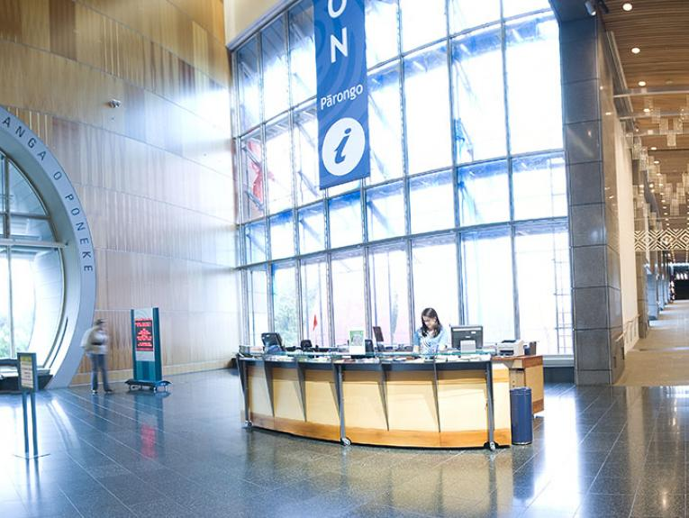General view of the information desk on level two at Te Papa