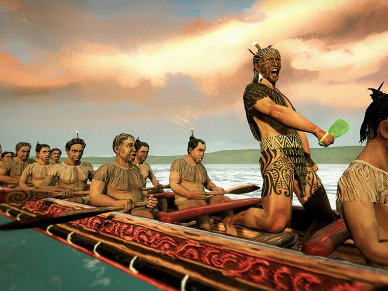 An illustration of Māori warriors in a waka with a chief standing up and calling out.