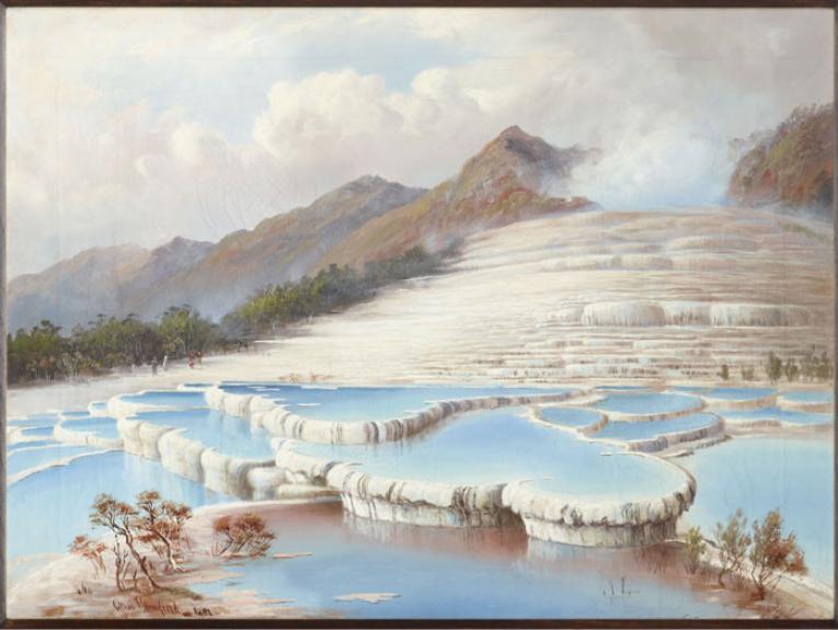 Painting of White Terraces, Tarawera