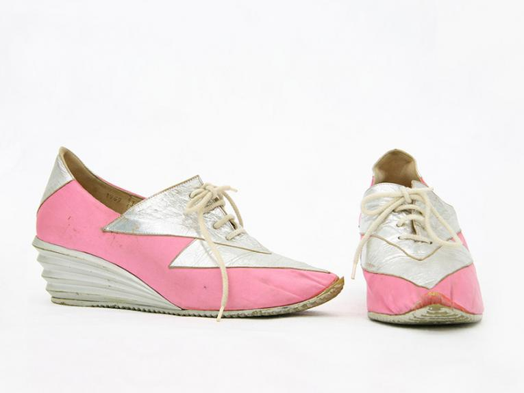 Pink and white shoes on a white background